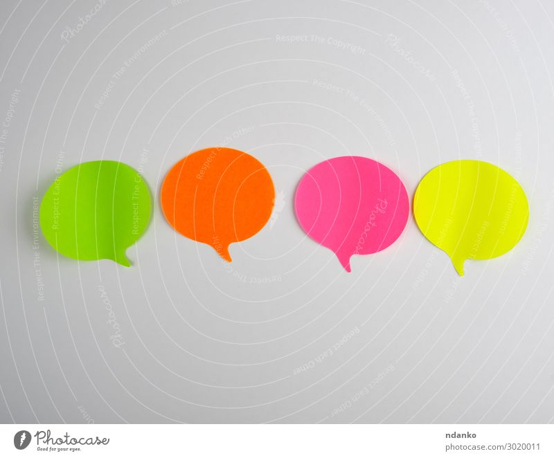 color paper stickers on a white background Office Business To talk Clouds Paper Think Communicate Exceptional Green Pink Red White Colour Idea chat Adhesive