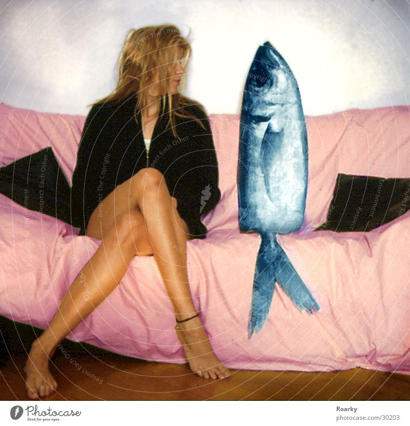 Date with fish Woman Sofa Fish Partner Couple Legs In pairs