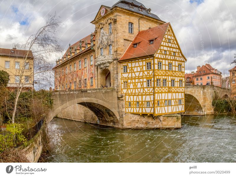 Bamberg at river Regnitz House (Residential Structure) Culture Water Coast River bank Brook Old town Bridge Manmade structures Building Architecture Facade
