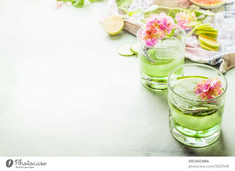 Green summer drinks with ice cream Food Nutrition Beverage Cold drink Drinking water Lemonade Juice Longdrink Cocktail Glass Design Healthy Eating Summer Party