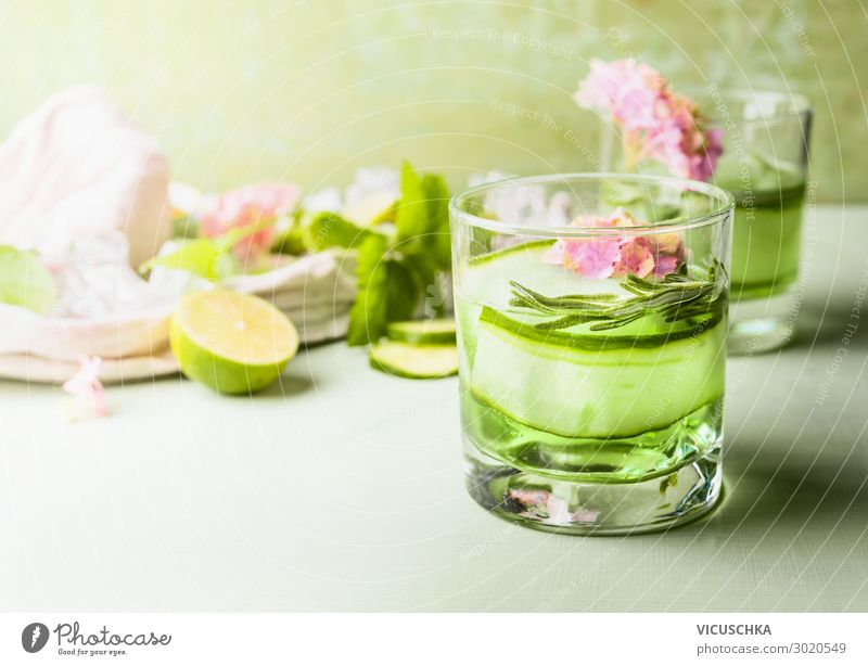 Glass with soft drink. Green cucumber and lime lemonade Food Nutrition Beverage Cold drink Lemonade Juice Style Design Healthy Eating Summer Table Hip & trendy