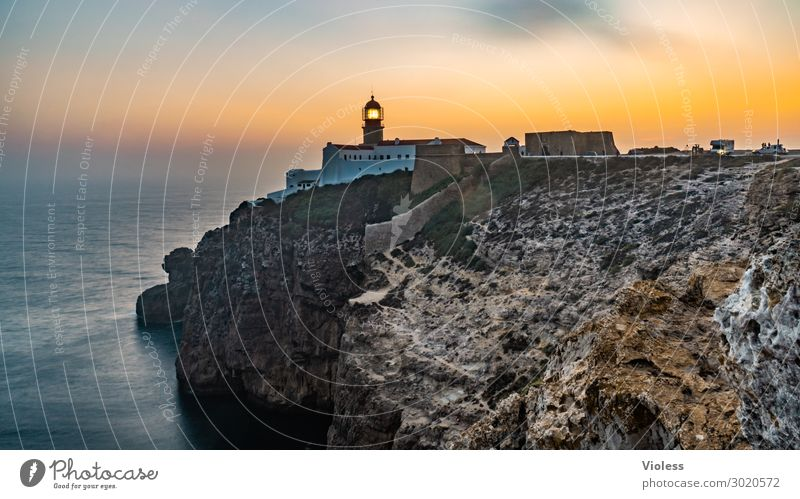Lighthouse at sunset Cap San Vincente Sagres Coast Rocky coastline Vila do Bispo Algarve Portugal vacation voyage Vacation & Travel