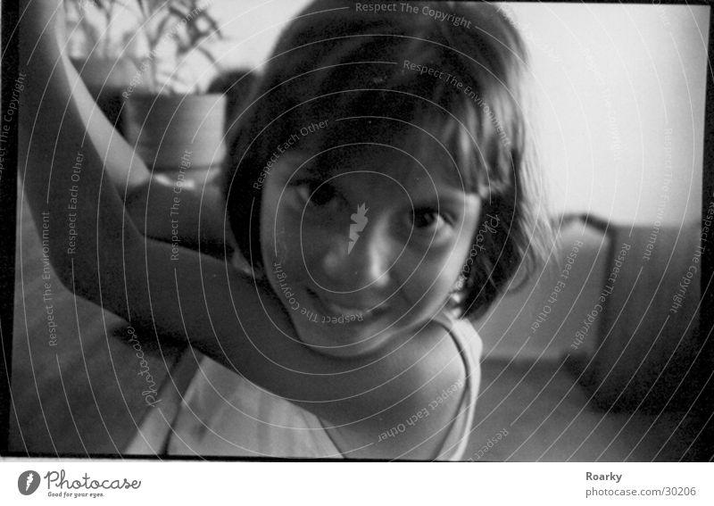 peekaboo Girl Close-up Blur Child Black & white photo Laughter