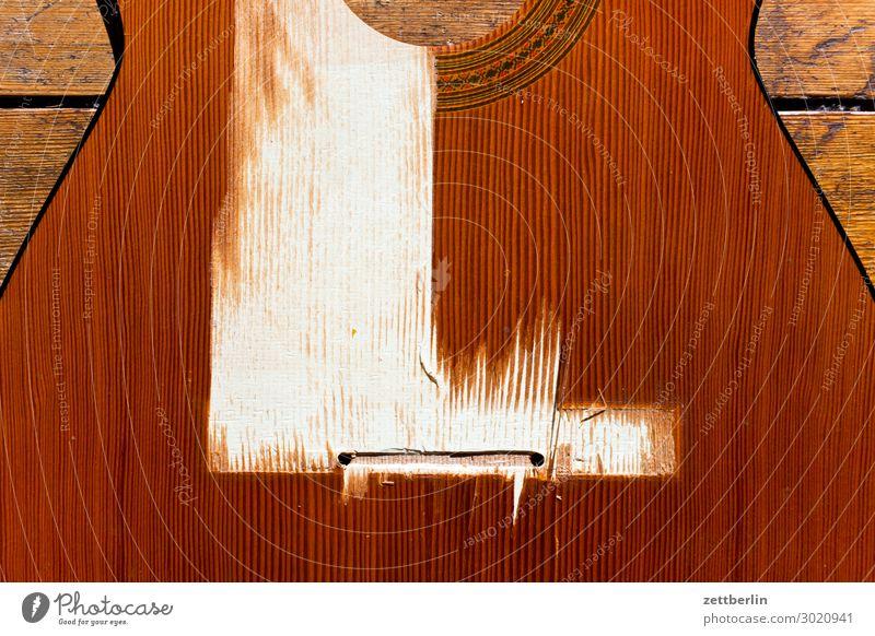 Broken guitar Guitar Musical instrument Blanket Wood Footbridge Destruction Torn Wood grain Thread Part Deserted Copy Space