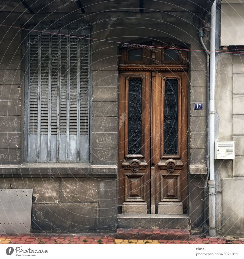 time-honored France Old town House (Residential Structure) Wall (barrier) Wall (building) Facade Window Door Entrance Downspout Shutter Transmission lines