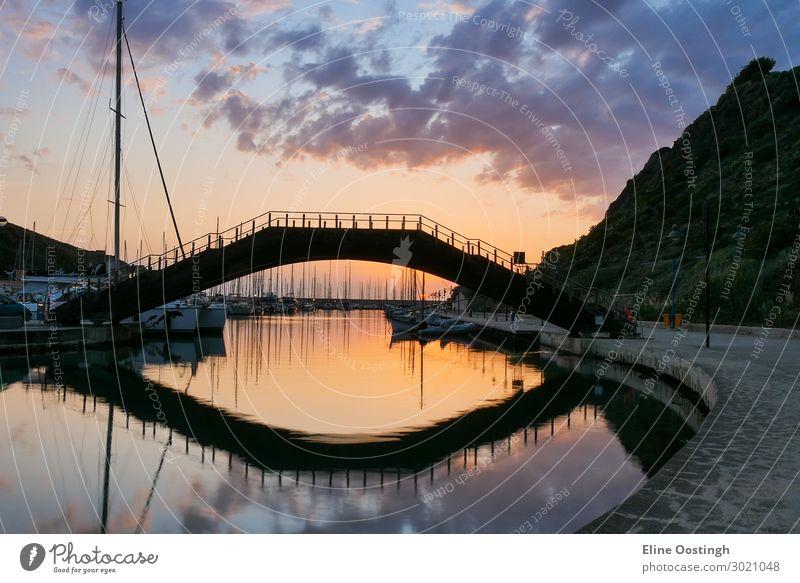 bridge over water. castelsardo sardinia italy harbour. sunset reflection architecture bay beach beautiful blue boat castle city coast colorful europe famous