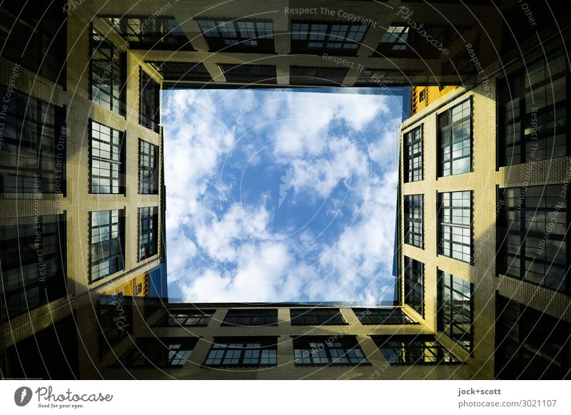 Backyard Duet Sky Clouds Beautiful weather Facade Sharp-edged Historic Style Symmetry Double exposure Illusion Opposite Frame Rotated Shaft of light Abstract