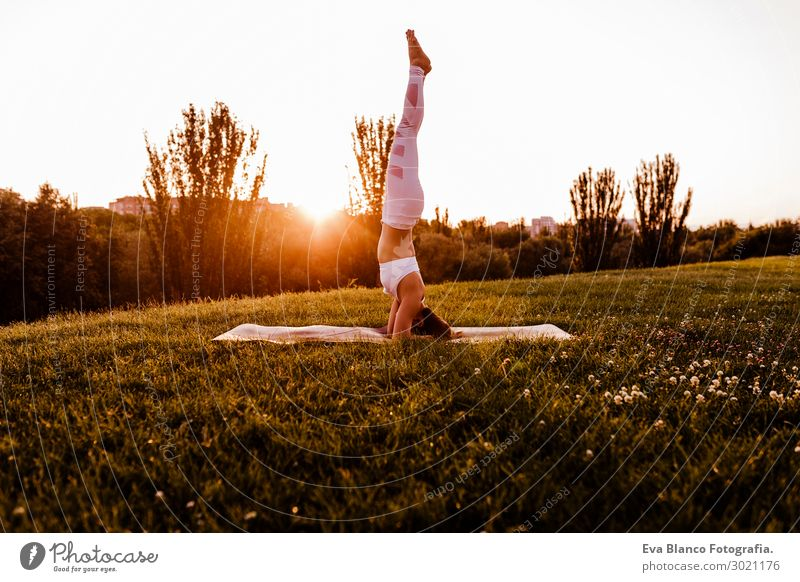 young beautiful asian woman doing yoga in a park at sunset. Woman Human being Nature Youth (Young adults) Young woman Summer Beautiful Green White Relaxation