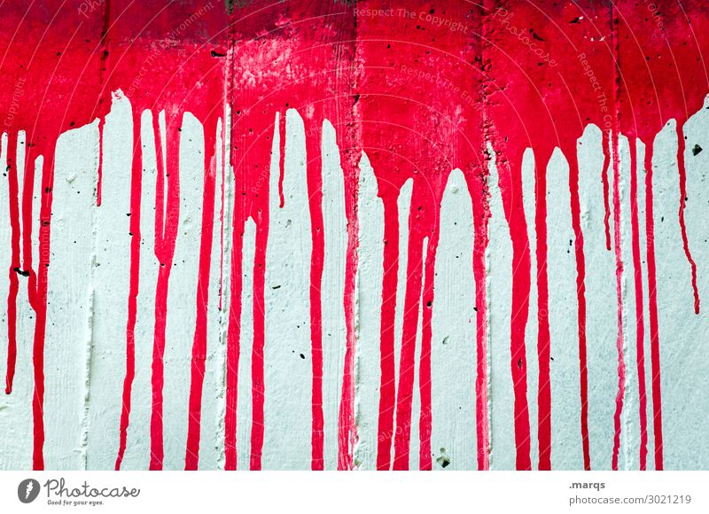 bloodstain Style Design Wall (barrier) Wall (building) Concrete Authentic Exceptional Crazy Red White Dye Fluid Graffiti Progress Contrast Inject