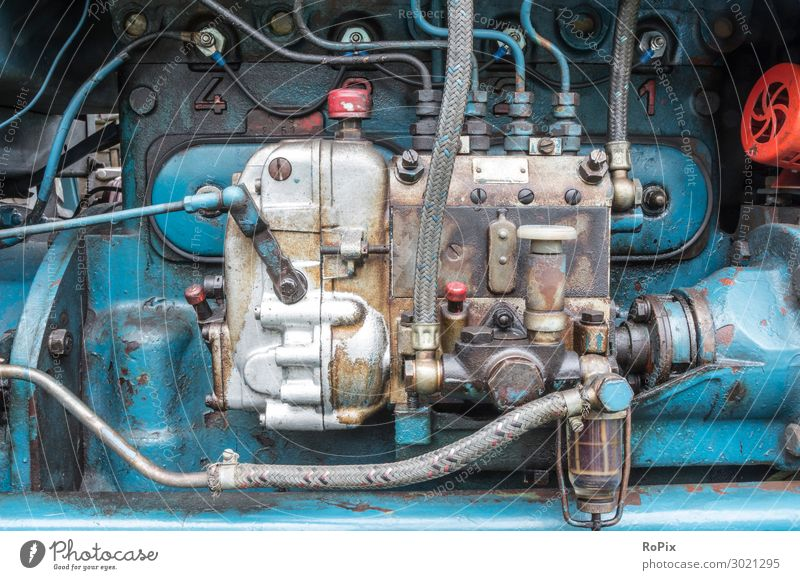 Diesel injection pump of a old tractor. Lifestyle Style Leisure and hobbies Science & Research Workplace Factory Economy Agriculture Forestry Industry Machinery