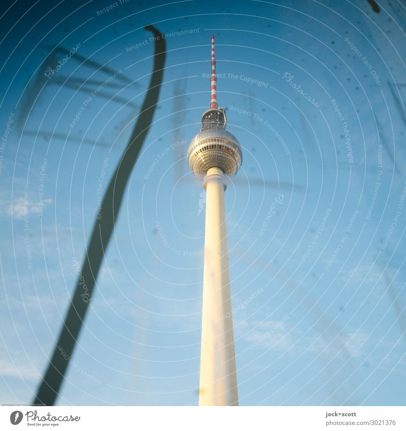 Scratch and television tower Style Sightseeing Subculture Street art Cloudless sky Beautiful weather Alexanderplatz Downtown Berlin Tower Tourist Attraction
