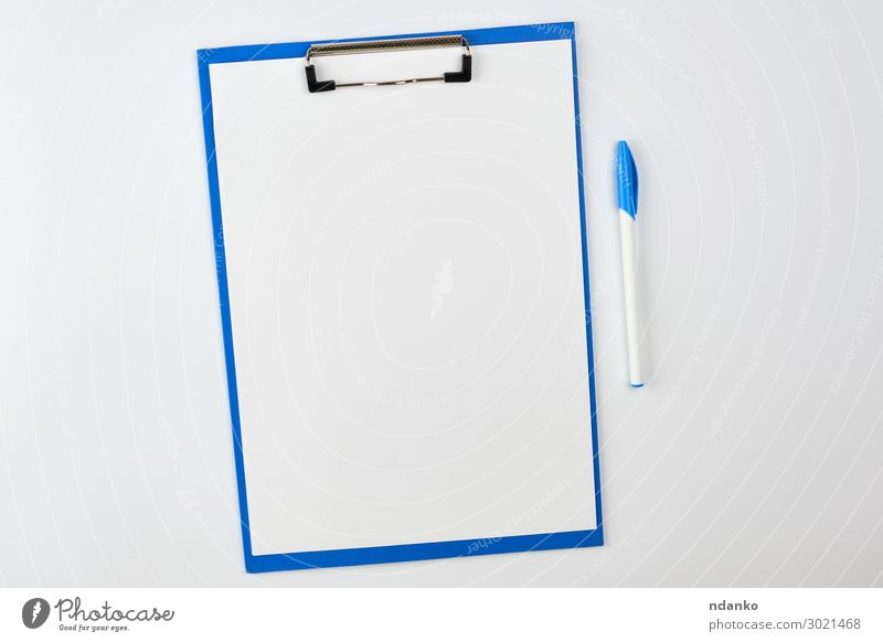blue paper holder on white background Design School Office Business Paper Pen File Write Blue White Colour Idea backdrop Blank board checklist Magazine