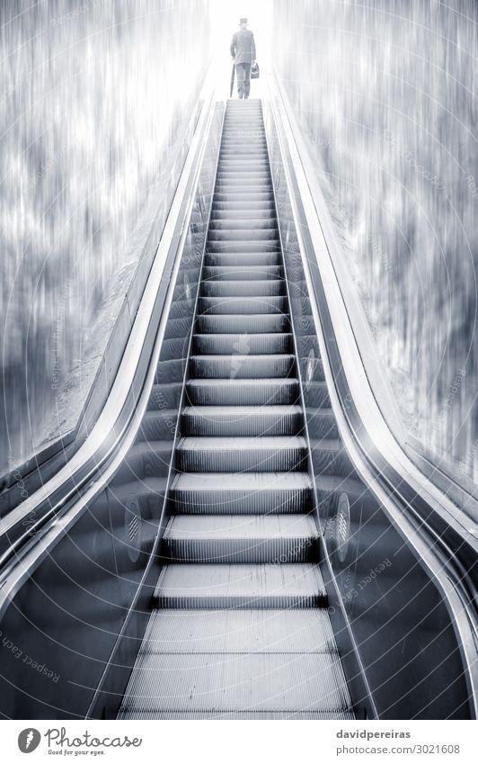 Futuristic escalator between waterfalls and a man on the top Vacation & Travel Business Human being Man Adults Waterfall Escalator Metal Steel Modern Future bag
