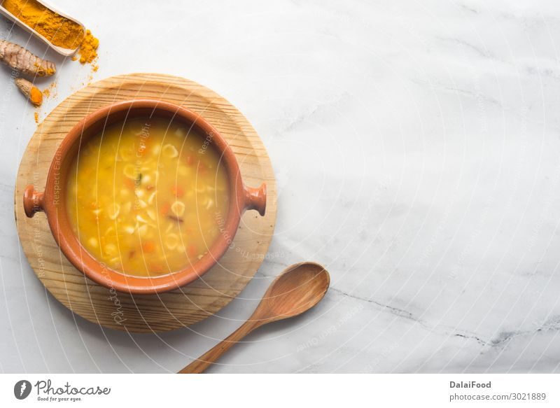 Turmeric and vegetable soup Vegetable Bread Soup Stew Lunch Dinner Vegetarian diet Diet Bowl Winter Autumn Wood Hot Delicious Yellow Tradition background Carrot