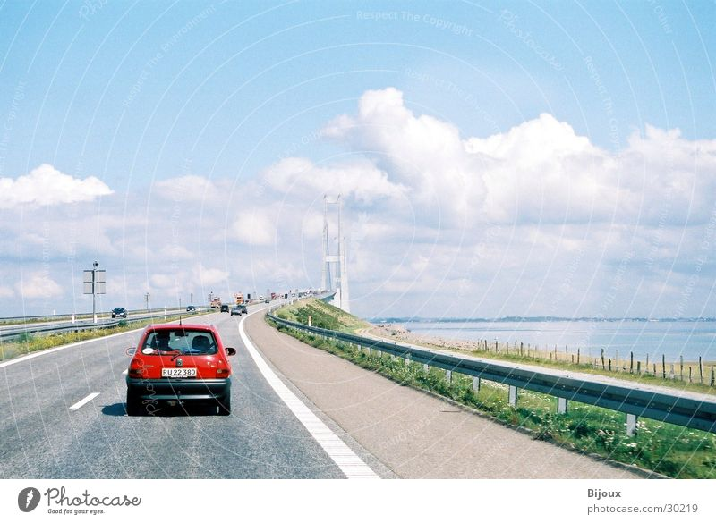 On to the bridge Transport Red Clouds Street Denmark corsa Opel Sky Far-off places