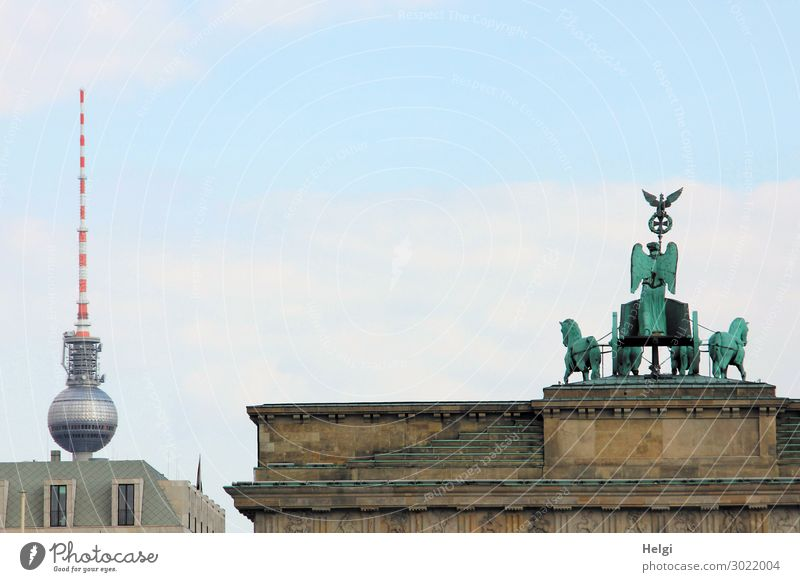 Brandenburg Gate with Quadriga, in the background the Berlin television tower City trip Capital city Downtown House (Residential Structure) Manmade structures