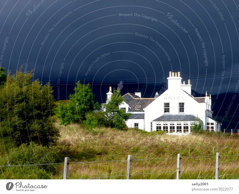 Bad weather front... Hotel House (Residential Structure) Weather Thunder and lightning black clouds Storm clouds Sun before the storm Scotland Great Britain