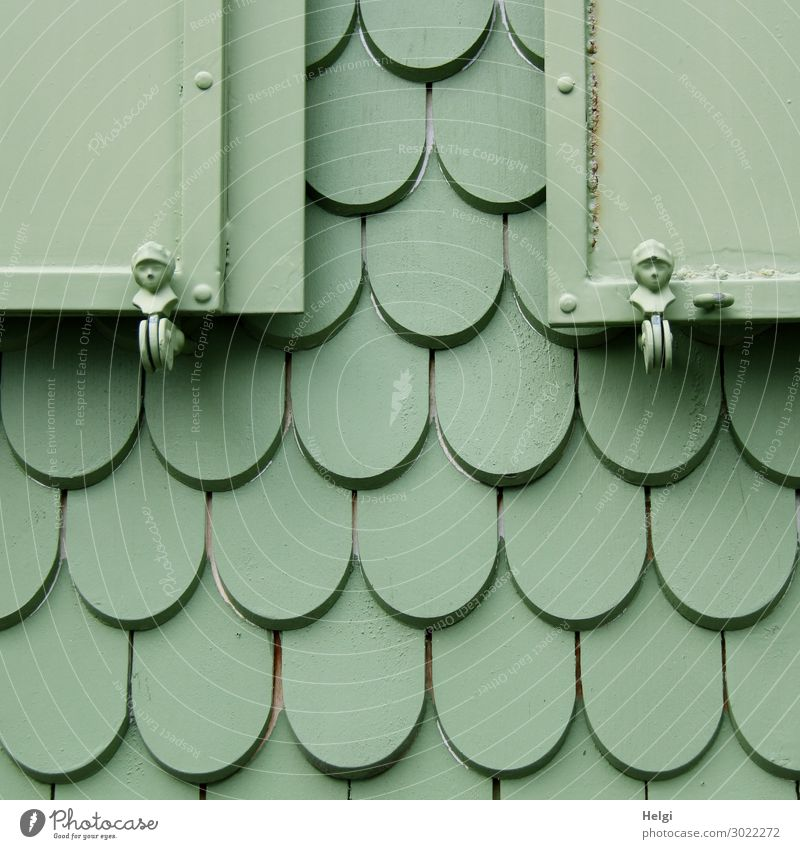 green painted wooden shingles and shutters with figures on the facade of a house Shutter Figure Shingle roof Wood Metal Line To hold on Living or residing