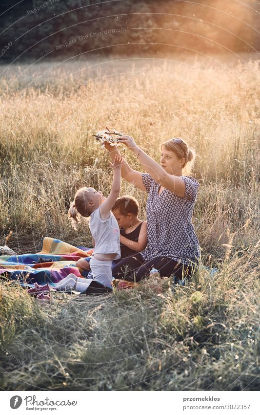 Family spending time together on a meadow Lifestyle Joy Happy Relaxation Leisure and hobbies Playing Vacation & Travel Summer Summer vacation Child Human being