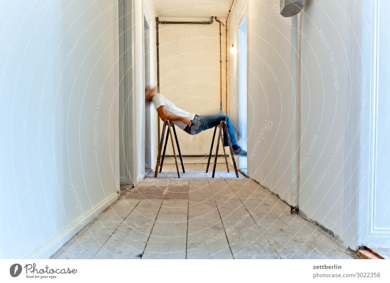 Short break Old building Period apartment Motion blur Hallway Wooden floor Floor covering Man Wall (barrier) Human being Room Interior design Redecorate