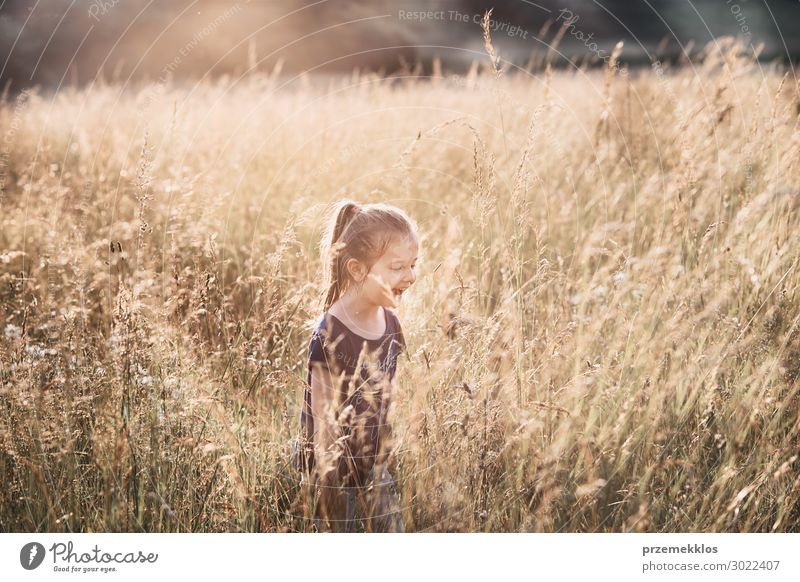 Little happy girl walking through a tall grass Child Human being Vacation & Travel Nature Summer Green Landscape Relaxation Joy Girl Lifestyle Adults