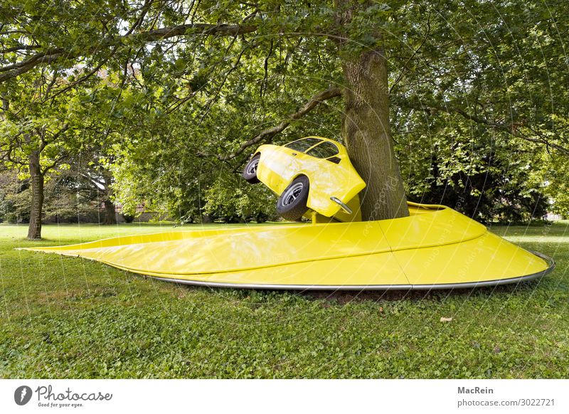 Modified car wrapped around a tree Art Exhibition Work of art Garden Park Meadow Vehicle Car Old Retro Yellow Curved Wrapped around Coil Tree Design