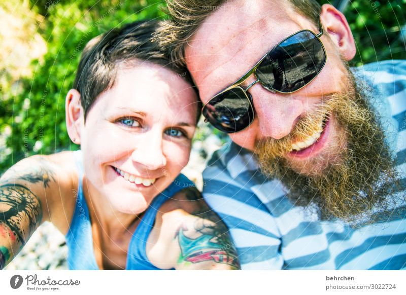 happy happy birthday:) portrait blurriness Sunlight Contrast Light Day Crazy Congenial Sunglasses Colour photo Exterior shot Funny Tattoo Love Together