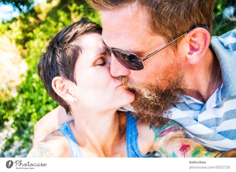 smooch Human being Woman Adults Man Couple Partner Life Head Hair and hairstyles Face Eyes Ear Nose Mouth Lips Facial hair 2 30 - 45 years Touch Kissing Smiling