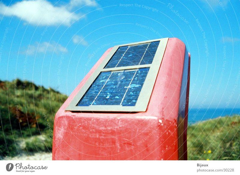 Red solar box Solar Power Beach Rescue Emergency Clouds Obscure Sun strange photovoltaics Beach dune Sky