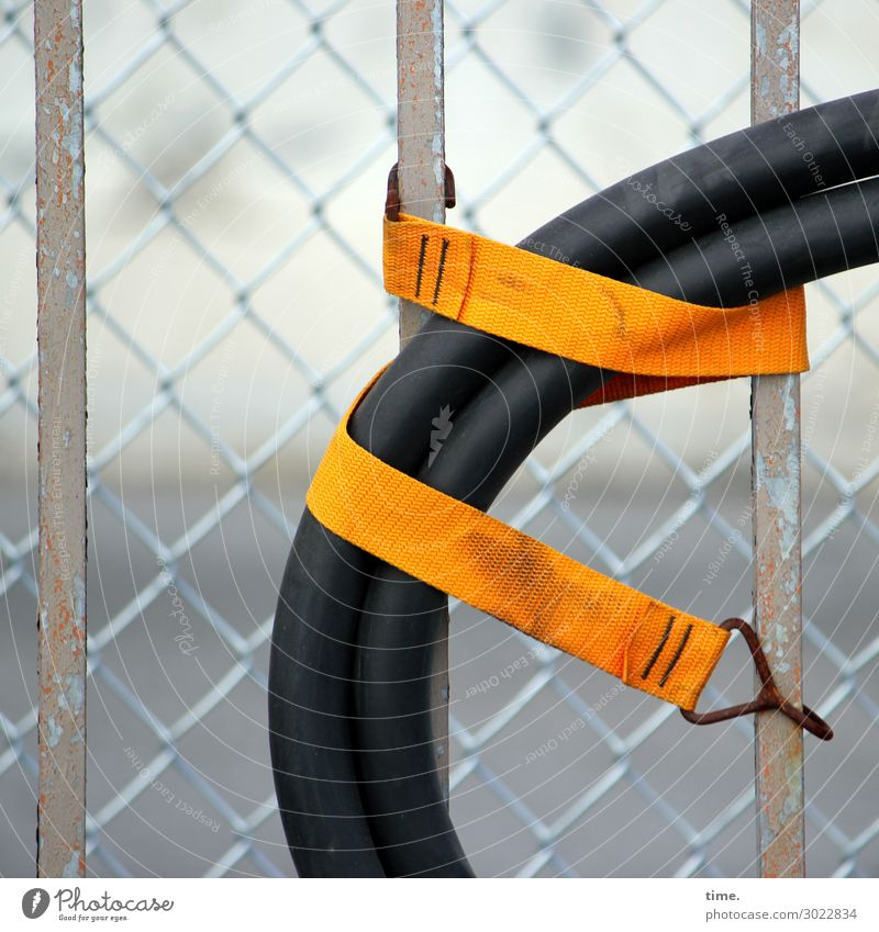 Stories from the fence (23) New York City Fence Fence post Wire netting Hose Collateralization Band Bandage To hold on hang Exceptional Town Orange Black Safety