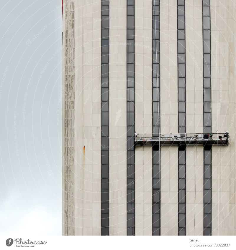 Airy, pretty front. Work and employment Workplace Construction site Services Craft (trade) Business New York City High-rise Facade Window Hydraulic lift