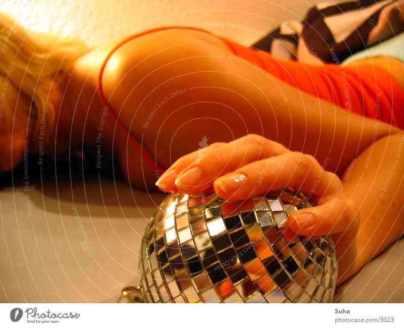 Hand Arm Sleep Bed Sphere Wake up Disco ball