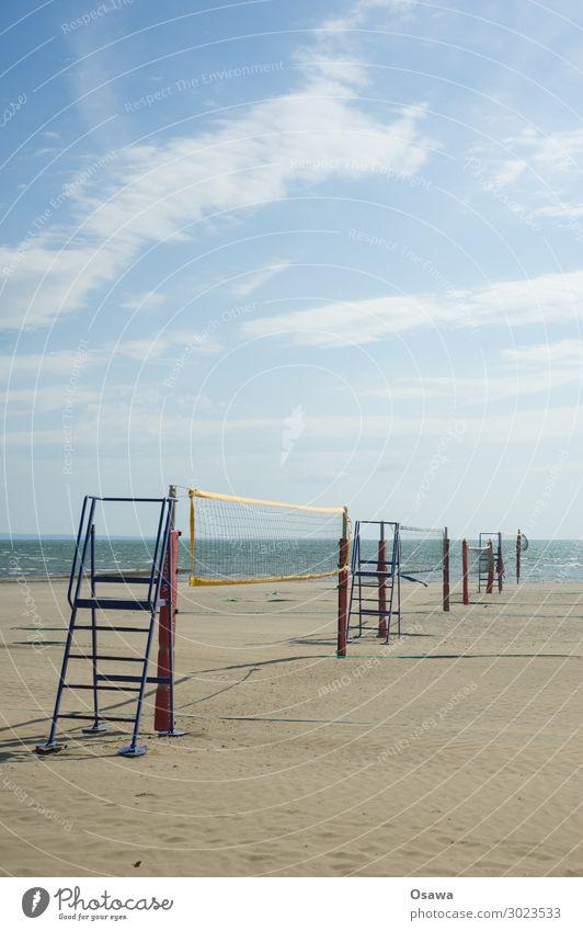 Volleyball nets on the beach Beach Ocean Coast Sand Vacation & Travel Clouds Summer Exterior shot Sports Ball sports Playing Summer vacation Net