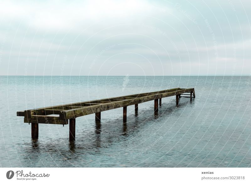 Old jetty in the water Water Sky Clouds Climate change Waves Coast North Sea Baltic Sea Ocean Broken Blue Brown Footbridge Defective Wood Colour photo