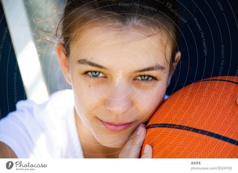 She loves basketball more than anything Lifestyle Happy Beautiful Face Playing Sports Woman Adults Youth (Young adults) Park Smiling Sit Dream Cute girl teenage