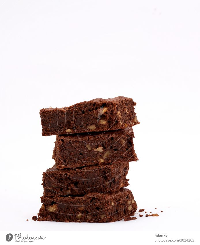 baked square brownie chocolate chip pie with walnuts Cake Dessert Hot Chocolate Dark Fresh Delicious Brown Black White Tradition Accumulation biscuit background