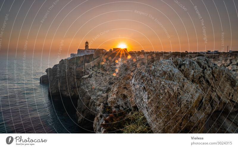 Sagres - End of Day Cap San Vincente Sunset Portugal Rock Rocky coastline Vacation & Travel Travel photography Sunbeam Algarve Lighthouse Lens flare Steep