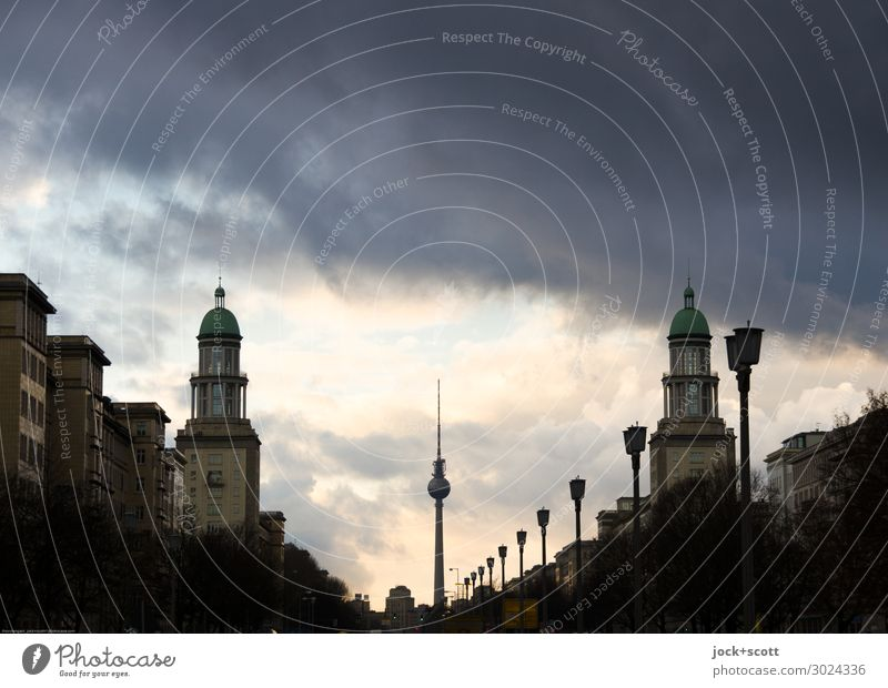 Frankfurter Tor Sky Town Far-off places Dark Environment Building Time Moody Retro Perspective Large Past Tower Tourist Attraction Hope Landmark