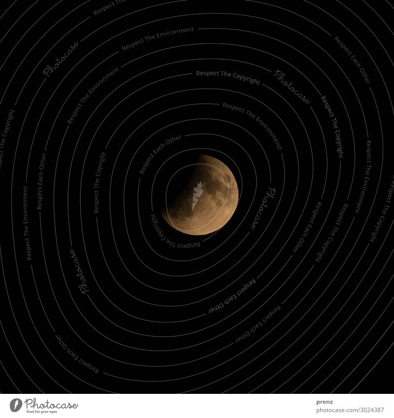 Partial Lunar Eclipse Environment Nature Sky only Cloudless sky Night sky Moon Lunar eclipse Full  moon Summer Beautiful weather Orange Black Volcanic crater