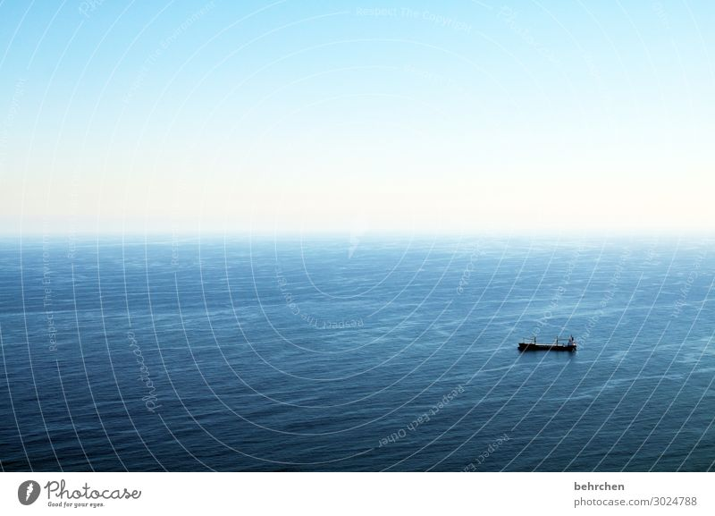 endless Sunlight Contrast Light Day Colour photo Bird's-eye view Waves Surface of water Economy Logistics deal Navigation Container ship Airplane Flying Blue