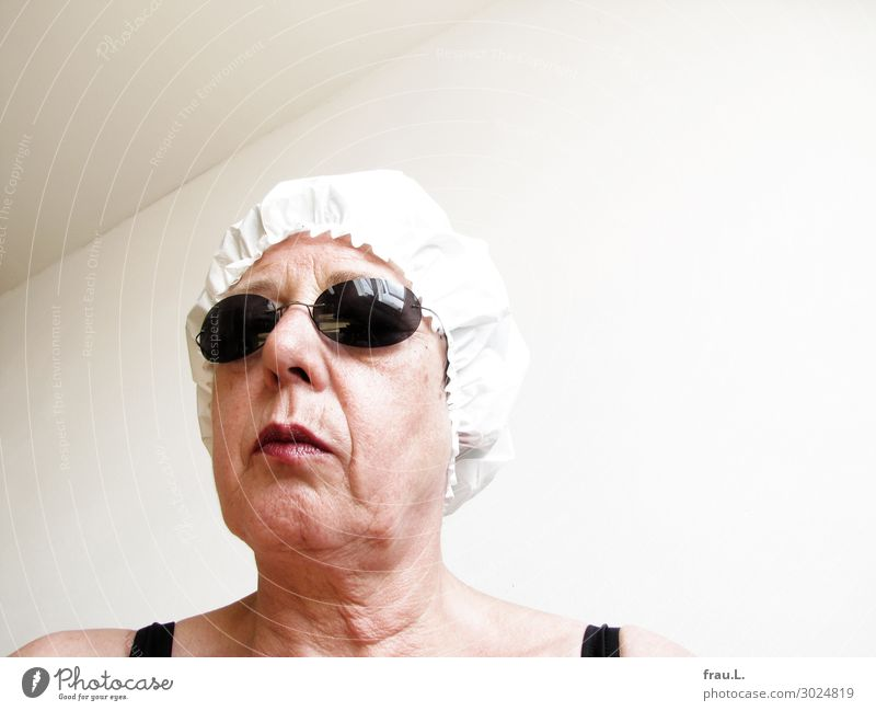 shower cap Human being Woman Adults Female senior Head 1 45 - 60 years Eyeglasses Cap Old Stand Crazy Trashy Black White Loneliness Animosity Frustration