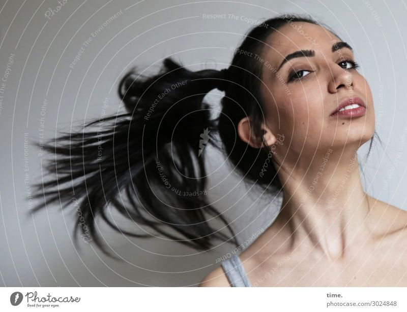 GizzyLovett Feminine Woman Adults 1 Human being T-shirt Black-haired Long-haired Braids Observe Rotate Looking Beautiful Joie de vivre (Vitality) Self-confident