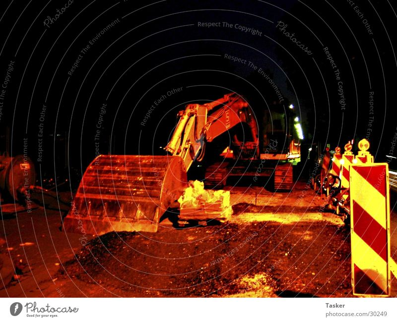 Excavator ur life away ! Night Construction site Shovel Industry Street streets