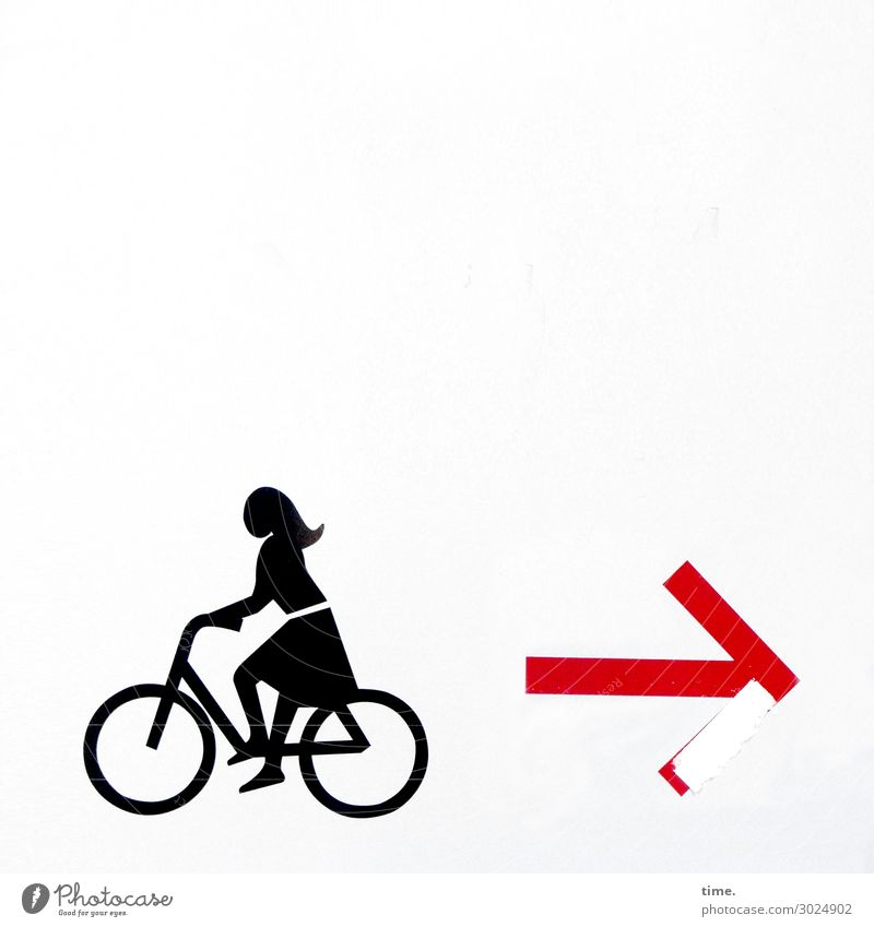 Autonomy & Decision | on the road again Feminine Woman Adults 1 Human being Wall (barrier) Wall (building) Cycling Dress Long-haired Stone Plastic Sign