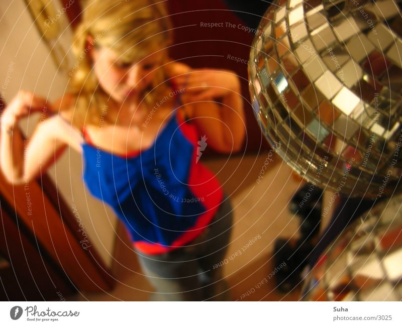 Woman Blonde Mirror Sphere Macro (Extreme close-up) Disco ball Styling