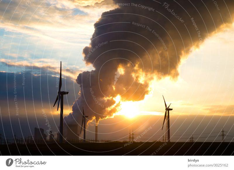 Climate change accelerators and alternatives Energy industry Renewable energy Wind energy plant Coal power station Sky Horizon Sunrise Sunset Smoking Authentic