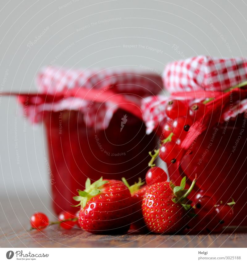 decorated glasses with homemade jam from strawberries and currants Food Fruit Jam Strawberry Redcurrant Nutrition Breakfast Decoration Glass Bow Lie Stand