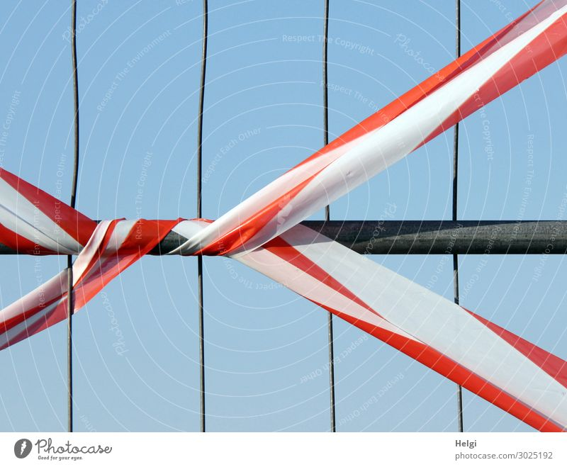 red-white barrier tape on a fence Cloudless sky Fence Protective Grating Barrier Metal Plastic Line String To hold on Stand Authentic Exceptional Simple