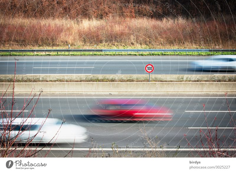 speed limit Transport Means of transport Highway Road sign Car Driving Authentic Speed Responsibility Prompt Serene Disciplined Fear of the future Movement