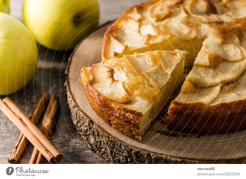 Homemade apple pie on wooden table. Apple Pie Dessert Baked goods Slice Fruit Food Healthy Eating Food photograph Autumn Dough tart seasonal Home-made Tradition